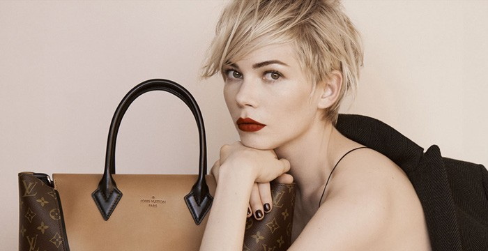 Louis Vuitton Taps Michelle Williams For Its Latest Ad Campaign Celebrity casting choices don't often catch me by surprise – after all, most designer deck out their future ad girls in the brand's wares for months before their partnerships are formally announced – but here we have Michelle Williams, starring in the ad campaign for two Fall 2013 Louis Vuitton Bags – the Louis Vuitton W Bag and the Louis Vuitton Capucines Bag...